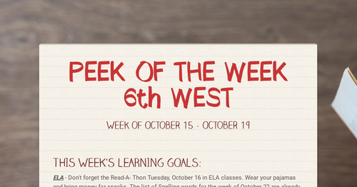 PEEK OF THE WEEK  6th WEST