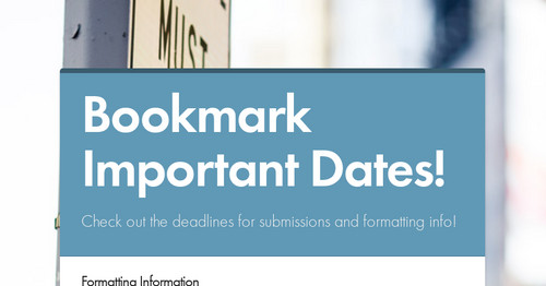 Bookmark Important Dates!