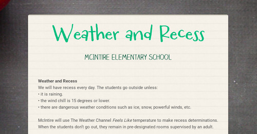Weather and Recess