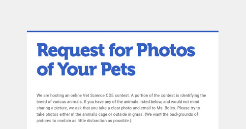 Request for Photos of Your Pets