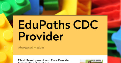 EduPaths CDC Provider Training