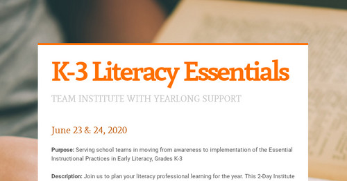 K-3 Literacy Essentials