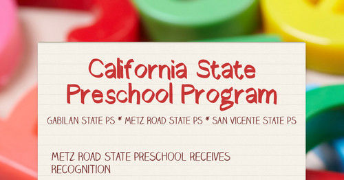 California State Preschool Program
