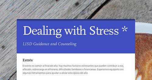 Dealing with Stress *
