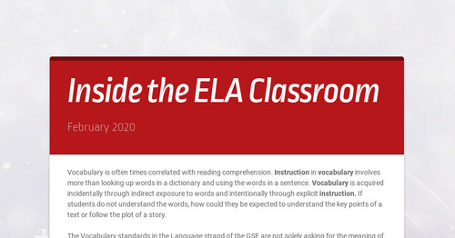 Inside the ELA Classroom