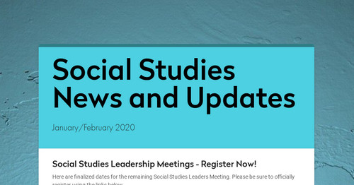 Social Studies News and Updates