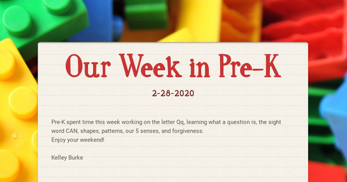 Our Week in Pre-K