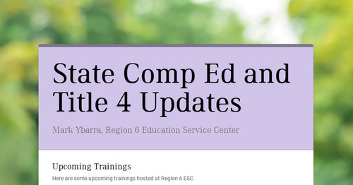 State Comp Ed and Title 4 Updates