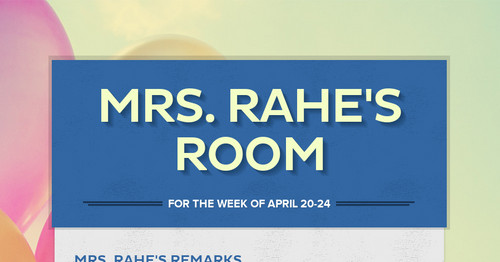 Mrs. Rahe's Resource Room