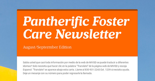 Pantherific Foster Care Newsletter