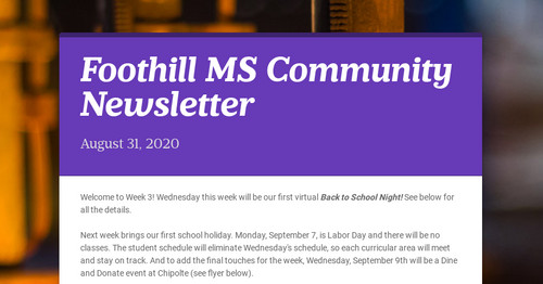 Foothill MS Community Newsletter