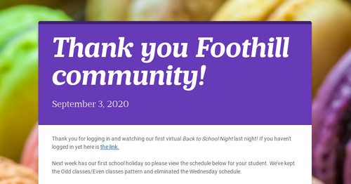 Thank you Foothill community!
