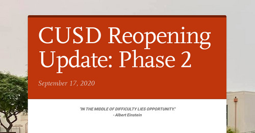 CUSD Reopening Update: Phase 2