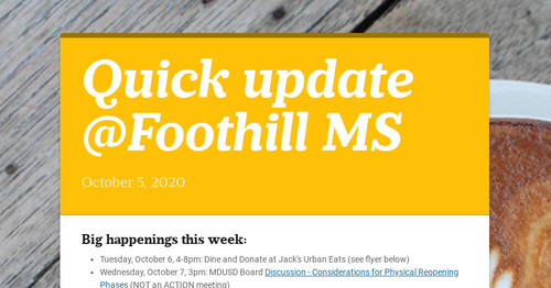Quick update @Foothill MS