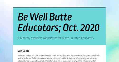 Be Well Butte Educators; Oct. 2020