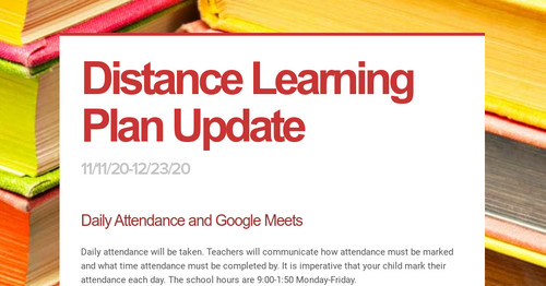 Distance Learning Plan Update