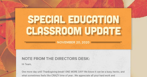 Special Education Classroom Update