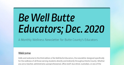 Be Well Butte Educators; Dec. 2020