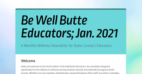 Be Well Butte Educators; Jan. 2021