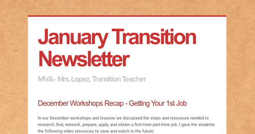 January Transition Newsletter