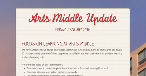Arts Middle Update