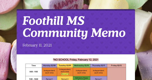 Foothill MS Community Memo