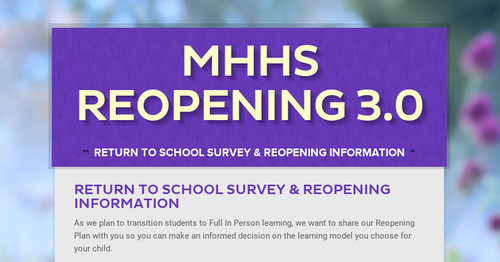 MHHS Reopening 3.0