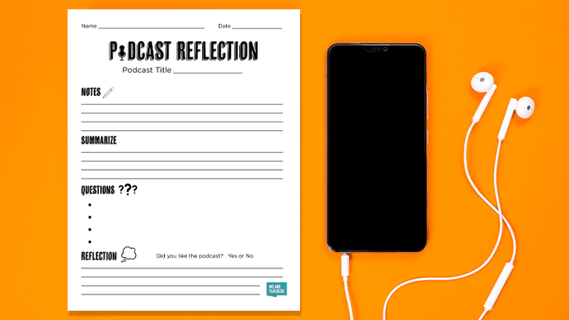 If Your Students Love Podcasts, You're Going to Want This Printable Reflection Sheet