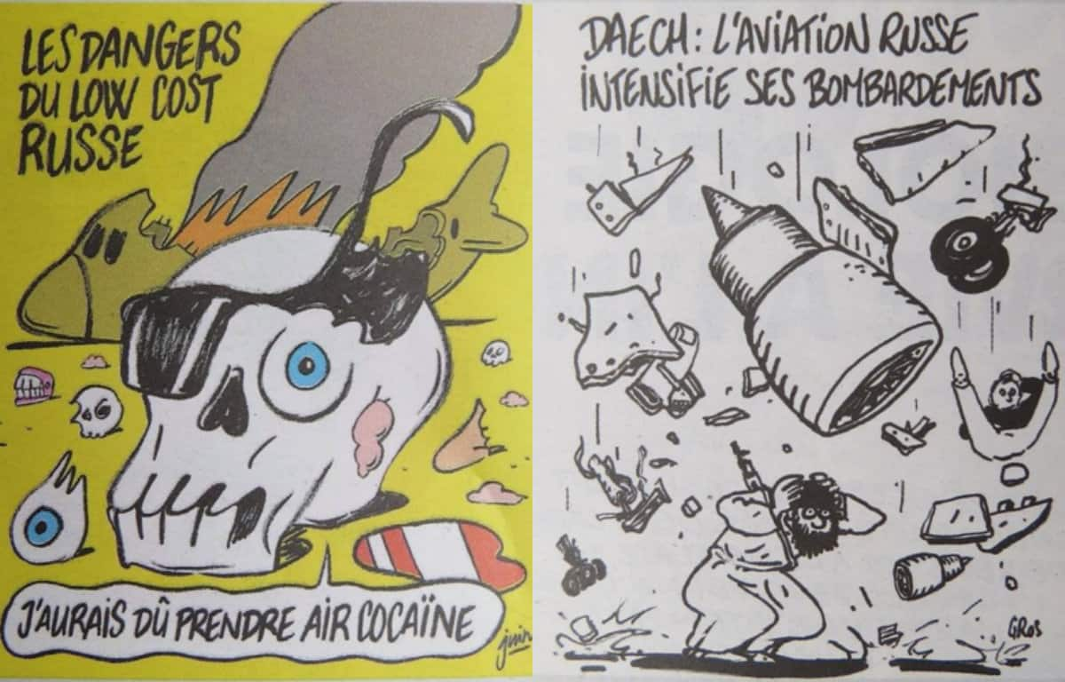 Russia hits out Charlie Hebdo for mocking plane crash with their cover page cartoon