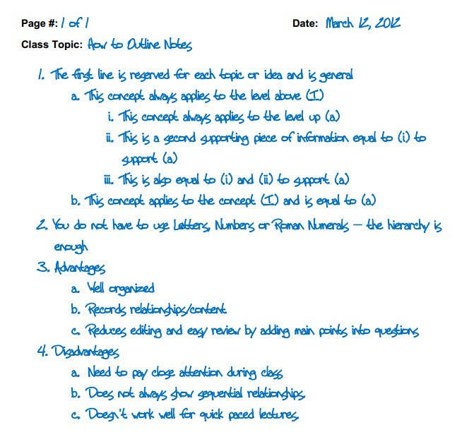 Outline Method - Note-Taking and Study Skills