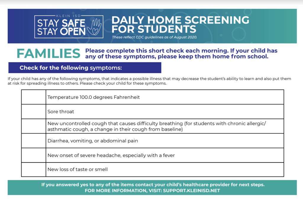How do I complete the daily home COVID-19 health screening? - Klein ISD Support