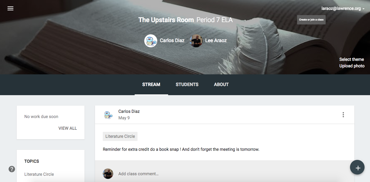 Student-Created Google Classroom Classes for Literature Circles
