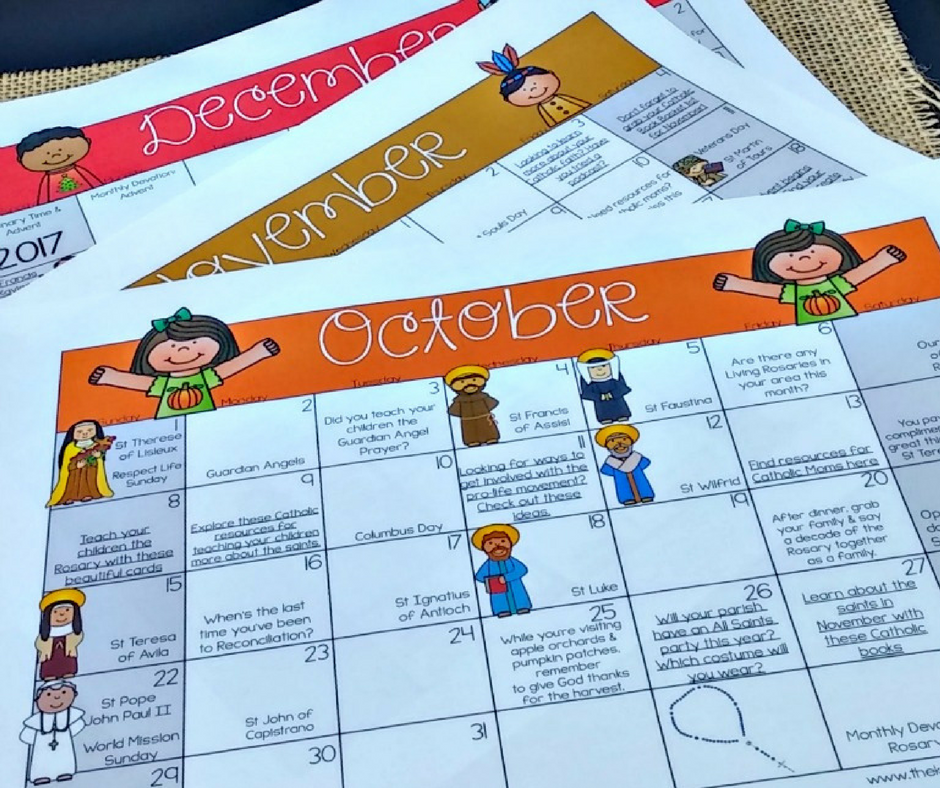 A Printable Catholic Family Calendar to Make Your Life Easier