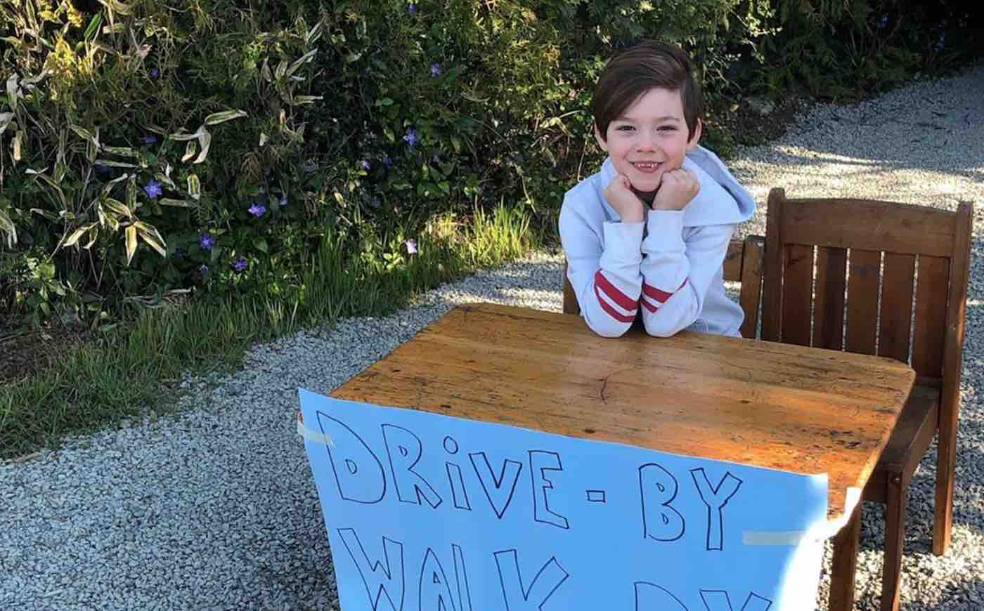 Instead of Selling Lemonade, Boy Sets Up 'Drive-By Joke Stand' to Spread Laughter During Quarantine