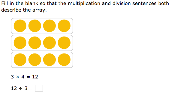 Practicing Third grade math: 'Relate multiplication and division for arrays'