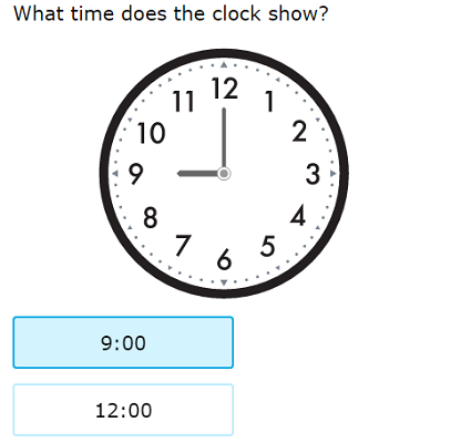 Practicing First grade math: 'Match analog clocks and times'