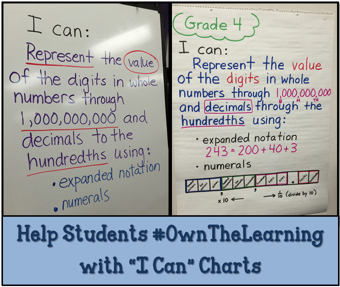 "Using ""I Can"" Charts to Make Learning Visible - Math Coach's Corner"