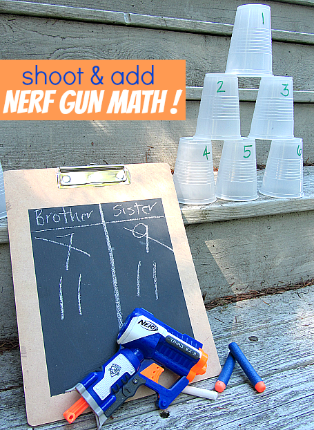 Shoot & Add { Nerf Gun Math For Kids } - No Time For Flash Cards