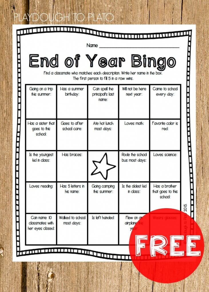 End of the Year Bingo - Playdough To Plato