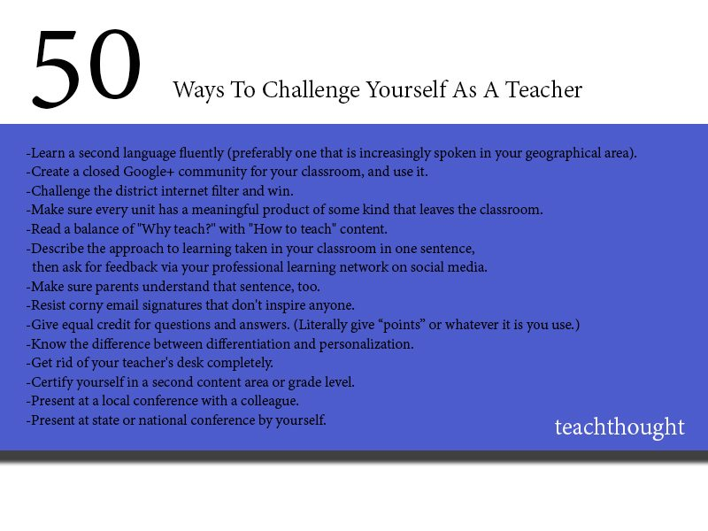 50 Ways To Challenge Yourself As A Teacher