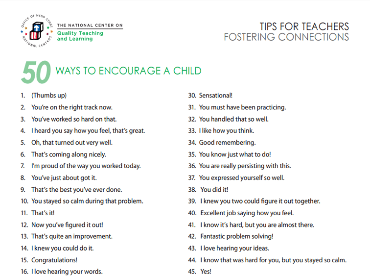 50 Things You Can Say To Encourage A Child -