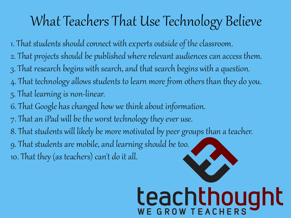 What Teachers That Use Technology Believe -