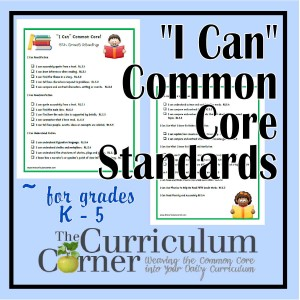 """I Can"" Common Core Standards K - 6 - The Curriculum Corner 123"