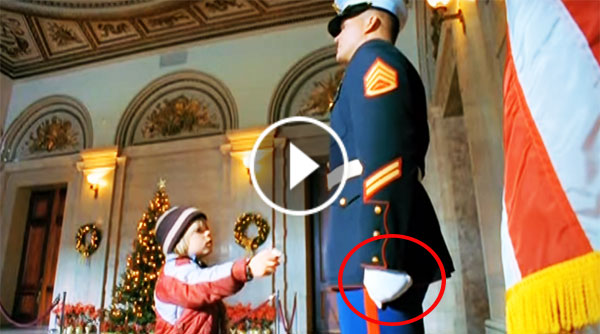 Little Boy Hands Him His Christmas Wish List. Now Pay Attention To This Marine's Left Hand! OMG!